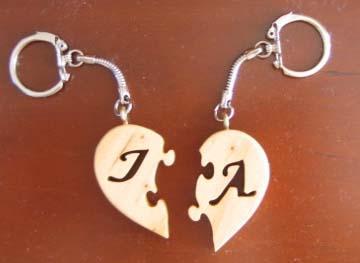 Porte clés coeur initiales